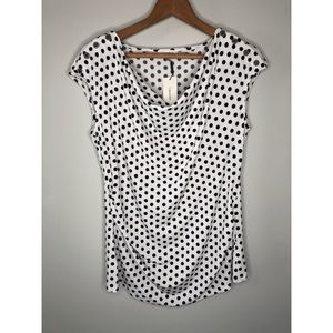 New Calvin Klein drape front polka dot blouse top